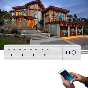 Image 5 - WiFi חכם כוח רצועת בריטניה מגן עם 4 דרך AC שקע 2 יציאת USB בית בקרת מתג תואם Alexa גוגל עוזר