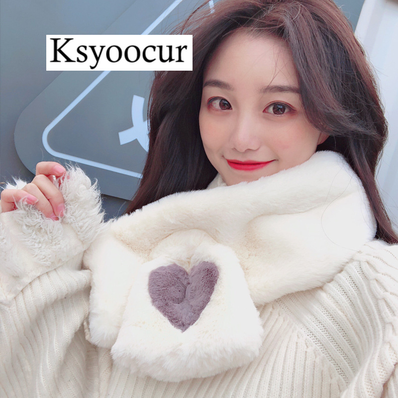 Size 90*13cm 2020 New Plush Scarf Women Autumn/winter Student Bib Hedging White Wild/plaid Female Scarves Brand Ksyoocur E35