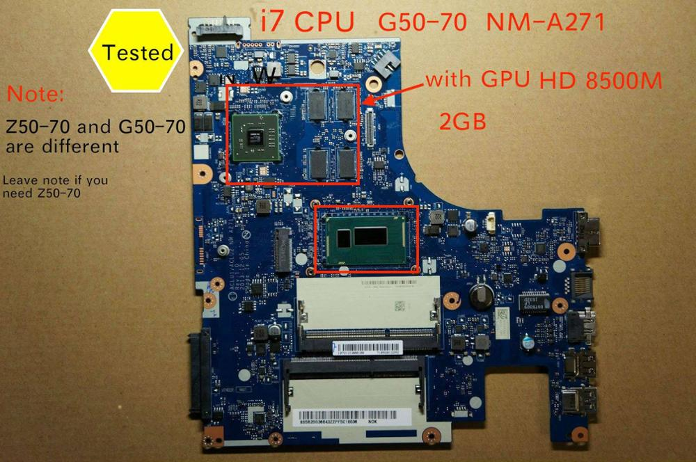 Working perfectly ACLU1 ACLU2 <font><b>NM</b></font>-A271 <font><b>NM</b></font>-<font><b>A361</b></font> mainboard for Lenovo G50-70 G50-80 laptop PC motherboard i7-4510 I7-4500 cpu image