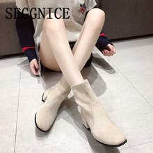 Women Sock Boots Square Heels 2020 Snow Boots Botas Mujer Invierno Ladies Casual Spring Shoes Booties Sock Fashion Woman Shoes
