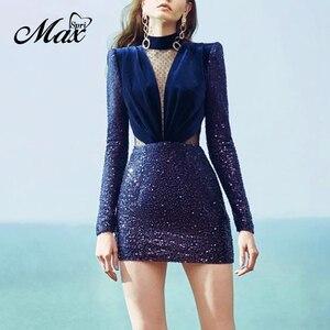 Женское кружевное мини-платье Max Spri, синее Клубное ажурное платье с высоким воротником и длинными рукавами, расшитое блестками, с вырезом на ...