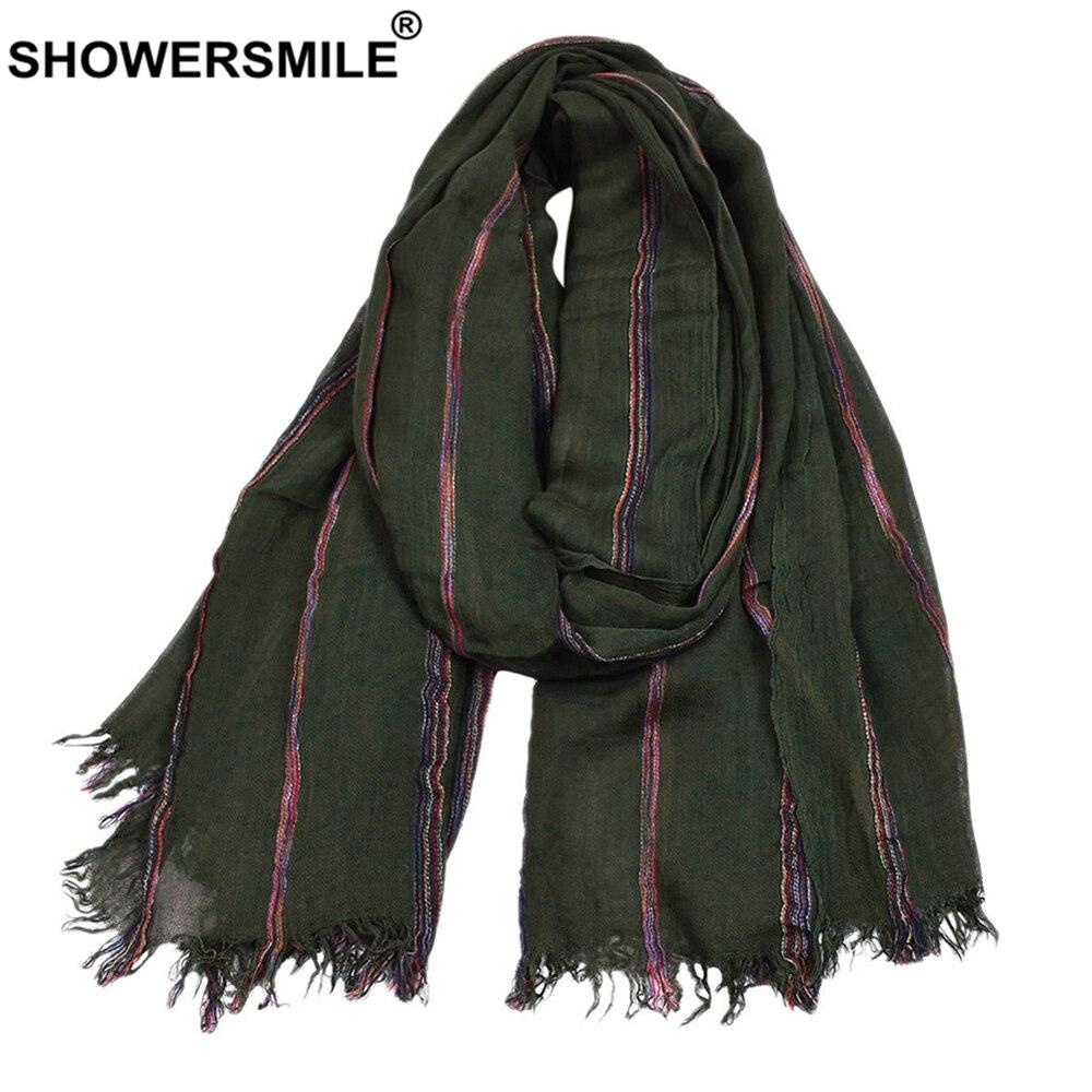 SHOWERSMILE Cotton Linen Men Scarf Winter Army Green Striped Tassel Scarf Men Fashion Ethnic Style Male Accessories