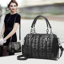 цена на 2020 Autumn And Winter WOMEN'S Leather Bags Fashion Sheepskin Rivet Shoulder Bag Tote Bag weekend bag