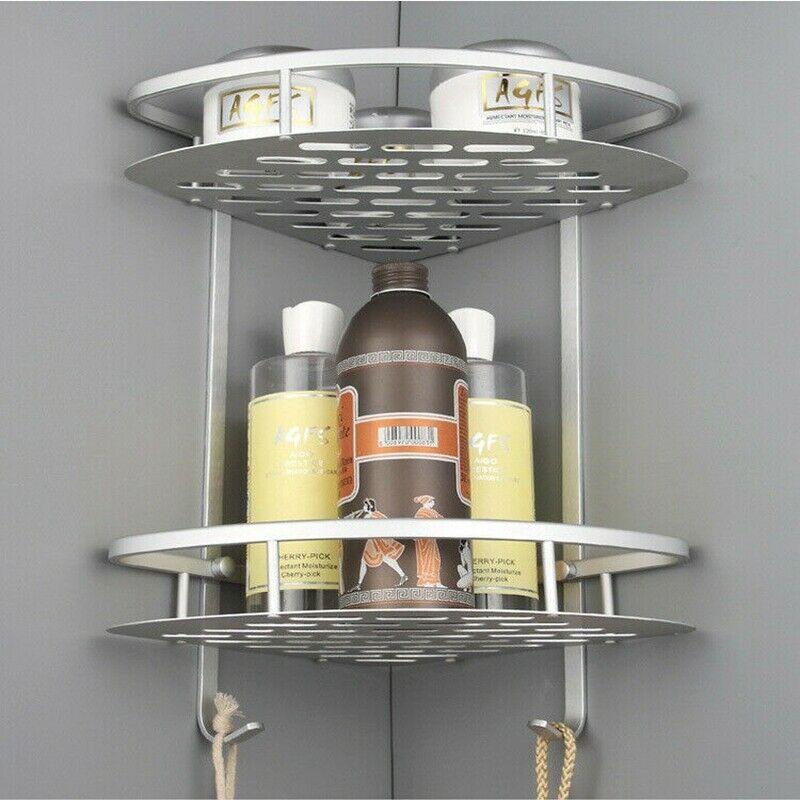 Faroot Brand New 2 Layer Triangular Shower Caddy Shelf Bathroom Corner Bath Rack Storage Holder Aluminum Corner Shower Shelves