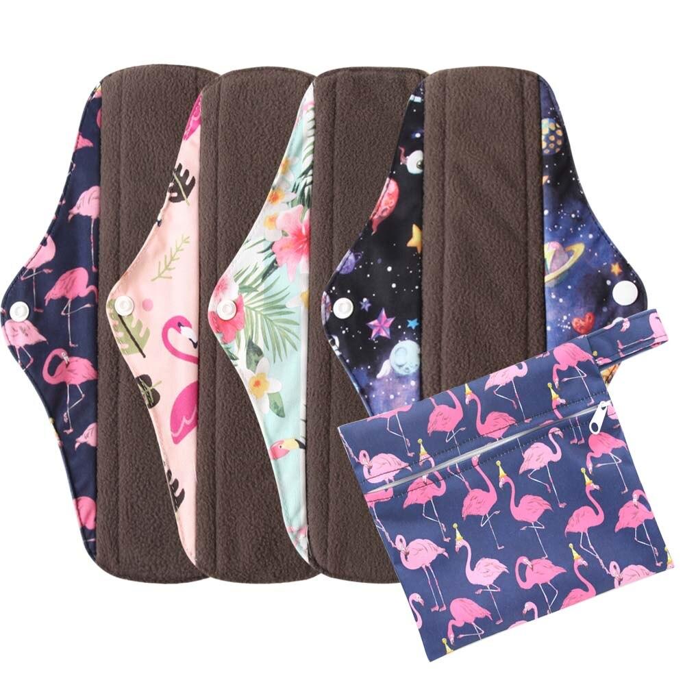 5 шт./компл. бамбуковые угольные гигиенические прокладки многоразовые моющиеся хлопчатобумажные прокладки для женщин менструальные прокла...