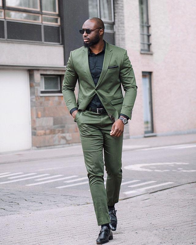 2020 Fashion Hunter Green Mens Suits Slim Fit Two Pieces Groomsmen Wedding Tuxedos For Men Formal Prom Suit Jacket Pants Tailor Made Suits Aliexpress