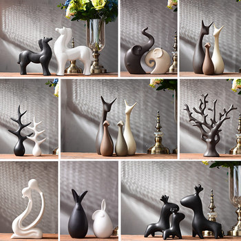Nordic Vintage Home Decor Ceramic Crafts desktop Ornaments Animal Swan Rabbit Deer Figurines Decoration Accessories