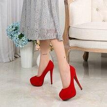 Размеры 35-46, новые пикантные босоножки на тонком каблуке женские туфли-лодочки на платформе из органической кожи черного и красного цвета свадебные вечерние туфли-лодочки для женщин, 14 см, B11-45