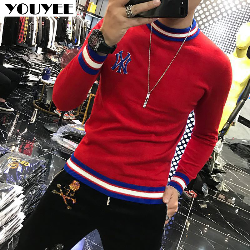 Autumn New Style Jacket Men's Sweater Winter Youth Handsome Embroidered Inner Style Knit Sweater