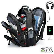 Swiss Multifunctional 15 Inch Laptop Backpack Men USB Charging Waterproof Travel Women Rucksack Male Schoolbag Hiking bag