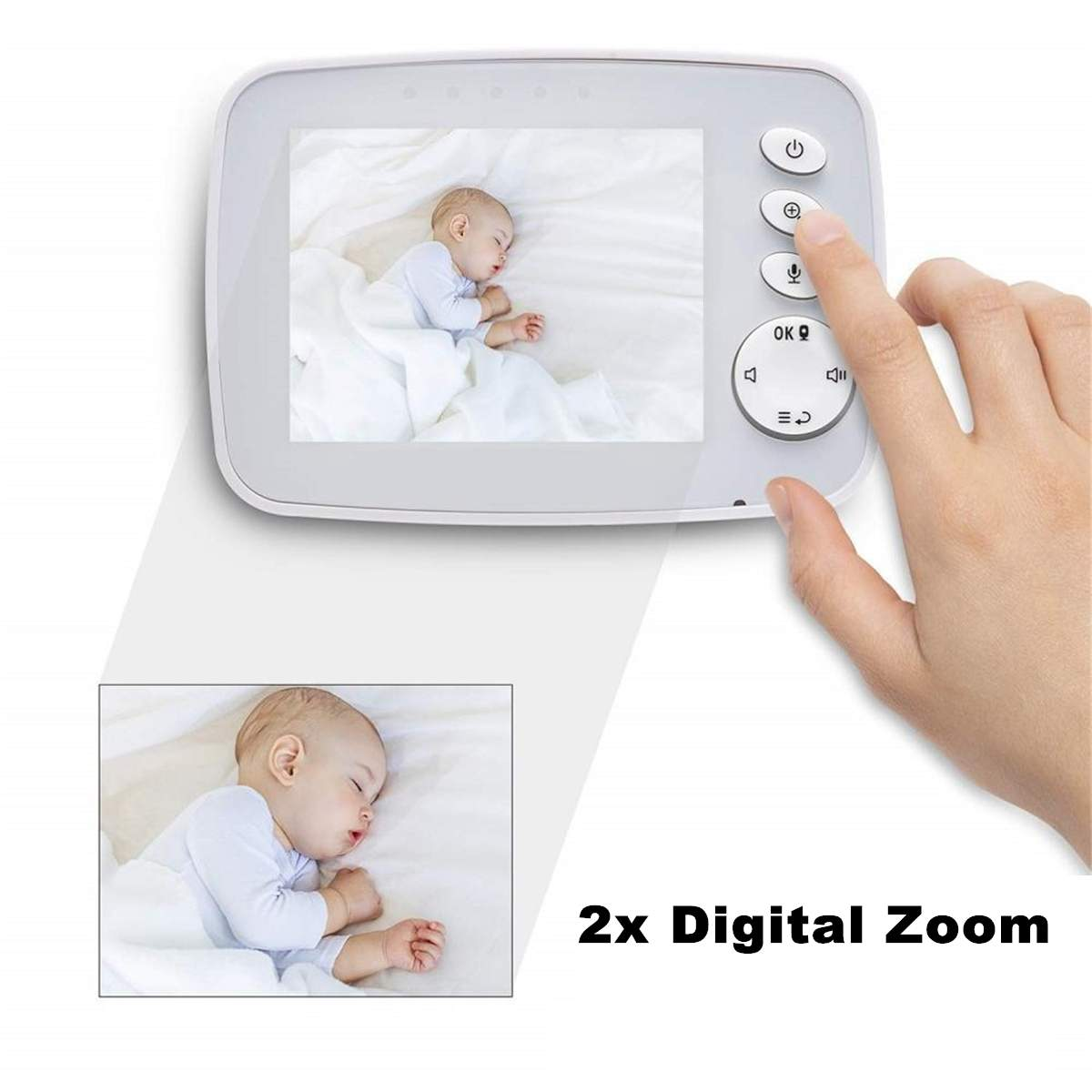 Children Monitor Wireless Digital Video Kids Baby Sleeping Monitor LCD Display Screen Audio Video Receiver Night Vision Home