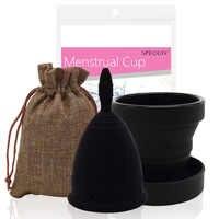 Ensemble de Coupe Menstruelle en Silicone de qualité médicale tasses d'hygiène féminine noires et Coupe Menstruelle pliable Esterilizador Copa