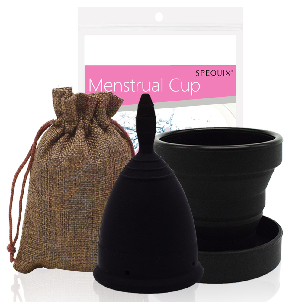 Medical Grade Silicone Menstrual Cup Set Black Feminine Hygiene Cups&Foldable Esterilizador Copa Menstrual Cup Coupe Menstruelle
