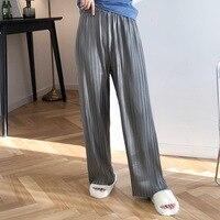 HLHPYHB Women Pleated Stria Pant Elastic High Waist Wide Leg Pants Korean Retro Solid Straight Trousers Female Soft Loose Bottom