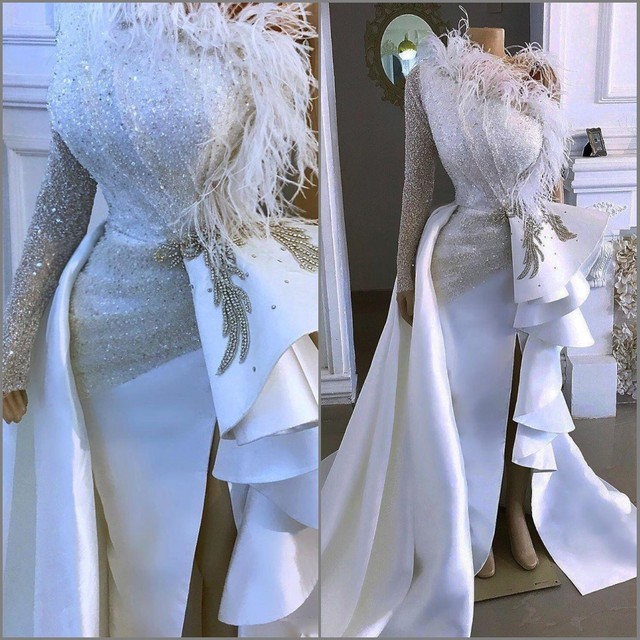 2020 Arabic Aso Ebi Sparkly Sexy Cheap Evening Dress One Shoulder Crystals Feather Prom Dresses Sheath Formal Party Gowns