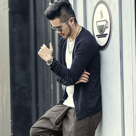 New Spring Men's Slim Cardigan Woolen Metrosexual Man Knitted Cardigan European Style Solid Color Long Sleeve Knitwear J755
