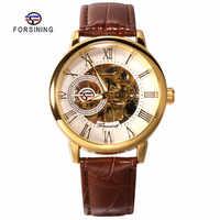 FORSINING mode Sport affaires hommes montres Top marque de luxe mécanique squelette montre noir or horloge horloges mannen