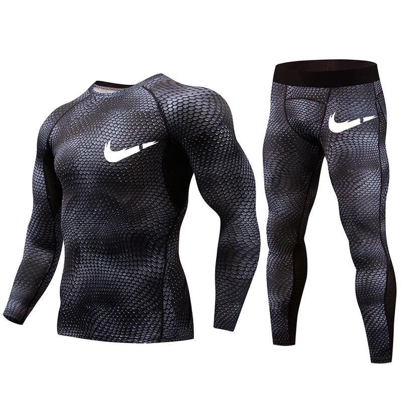 2018 new fitness men 39 s suit camouflage compression shirt leggings basic brand long sleeved T shirt clothing in T Shirts from Men 39 s Clothing