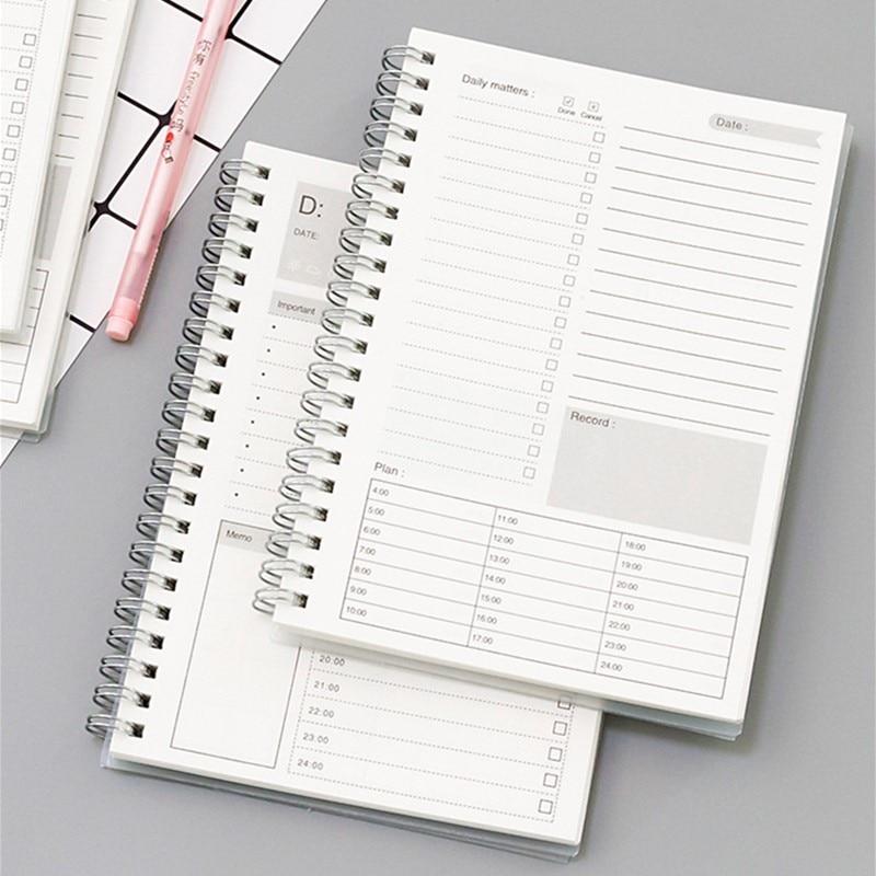 2020 2021 Spiral A5 Notebook Planner Daily Weekly Monthly Kraft Paper Organizer Agenda School Office Schedule Stationery Gifts