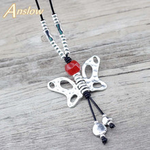 Anslow 2019 Design Winter 90cm Length Sweater Chain Necklace Butterfly Pendant For Women Female Christmas Gift LOW0083AN