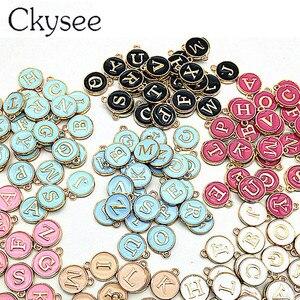 Ckysee 10pcs/lot 12*14mm Alphabet Letter Double Face Enamel Charms JewelryHandmade Pendants Jewelry Making Handmade DIY Bracelet