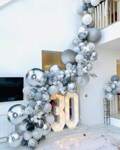 Image 1 - 136 個大理石瑪瑙風船花輪キットブラックホワイトグレーバルーンアーチ紙吹雪バルーン誕生日結婚式ベビーシャワーパーティーの装飾
