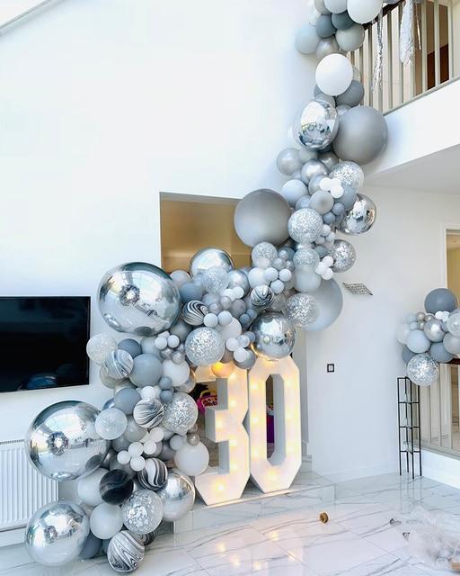 136 個大理石瑪瑙風船花輪キットブラックホワイトグレーバルーンアーチ紙吹雪バルーン誕生日結婚式ベビーシャワーパーティーの装飾