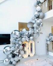 136pcs שיש אגת בלונים זר ערכת שחור לבן אפור בלון קשת קונפטי בלון יום הולדת חתונה תינוק מקלחת המפלגה דקור
