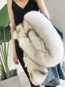 Image 2 - OFTBUY Chaqueta de invierno tipo Parka vaquera para mujer, abrigo de piel auténtica, Cuello de piel de mapache Natural, piel de zorro de abrigo, forro para exteriores, 2020