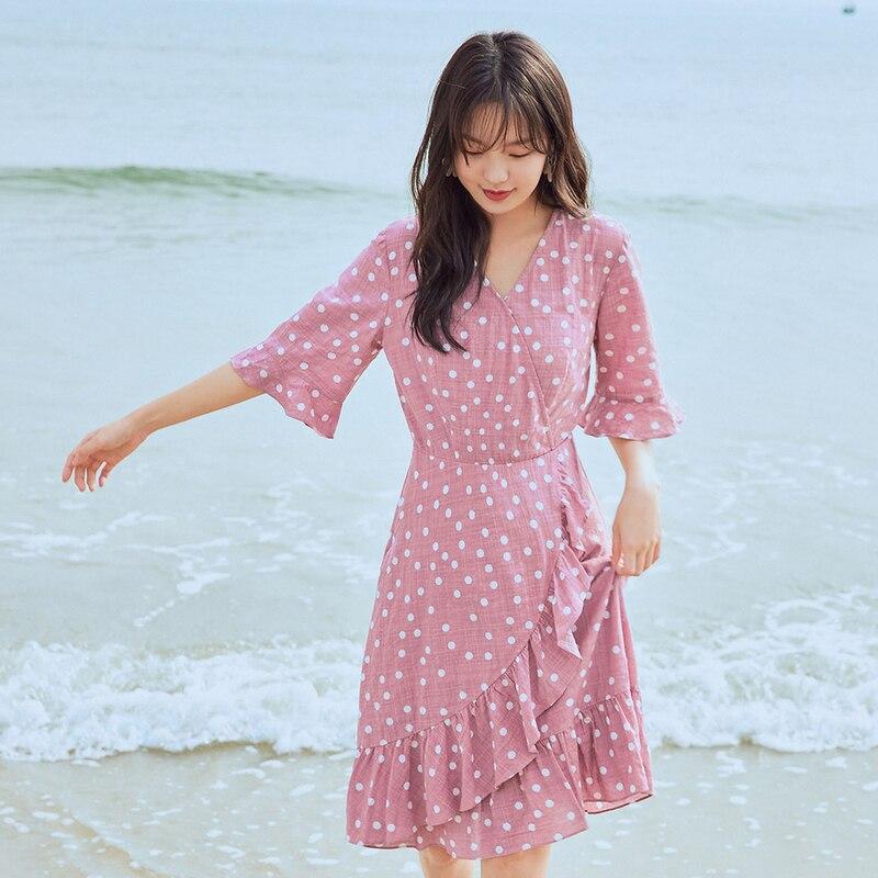 INMAN 2020 Summer New Arrival Irregular Falbala Fariy French Style Elegant Short Sleeve Dress