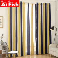 Mediterranean Yellow blue chenille vertical window curtains for living room Red blue stripe yarn dyed tulle curtains MY018 30|Curtains|   -