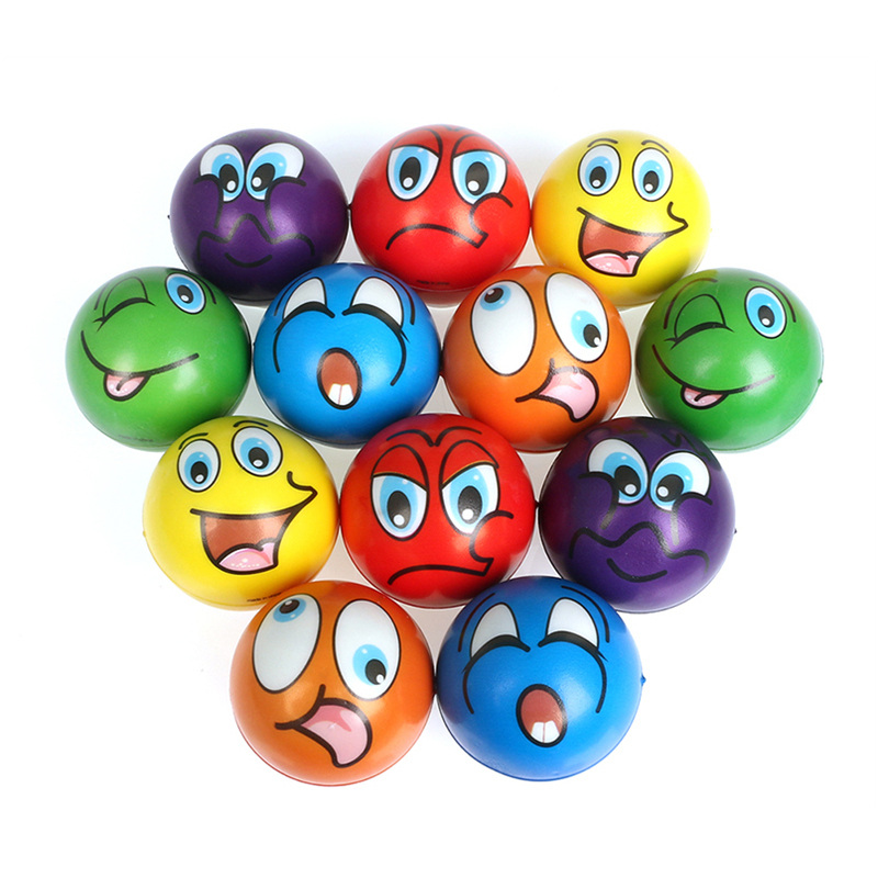 6pcs 6.3cm Stress Balls Grimace Smiley Laugh Face Soft Foam PU Squeeze Squishy Balls Toys For Kids Children Adults