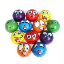 6 pces 6.3cm bolas de estresse careta smiley rir rosto macio espuma do plutônio squeeze bolas squishy brinquedos para crianças crianças adultos
