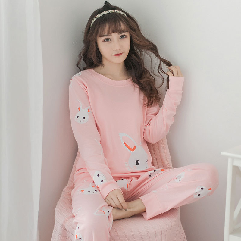 [[Jun Xin] Spring And Autumn Rabbit Head Cartoon Pajamas Pink White Rabbits 170 Grams In Service Mlxlxxl20