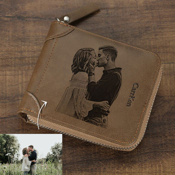 Valentine's Day Present Wallet Customization Picture Custom Inscription Photo Engraved Wallet With Zipper Engraving Image Purse custom inscription photo engraved wallet leather multi card three fold vertical wallet thin section buckle father s day gift