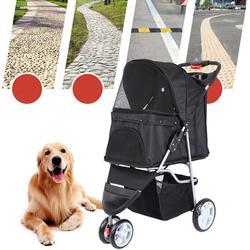 Pet Dog Puppy Cat Travel Stroller Pushchair Jogger Buggy Swivel 3 Wheels
