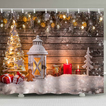 цена на Christmas shower curtain, Christmas element scene, waterproof, perforation-free, 12 hook print shower curtain.