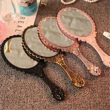 Espejo de mano tallado Vintage para maquillaje, espejo de mano para salón de SPA, tocador de maquillaje, espejo compacto para cosméticos para mujer