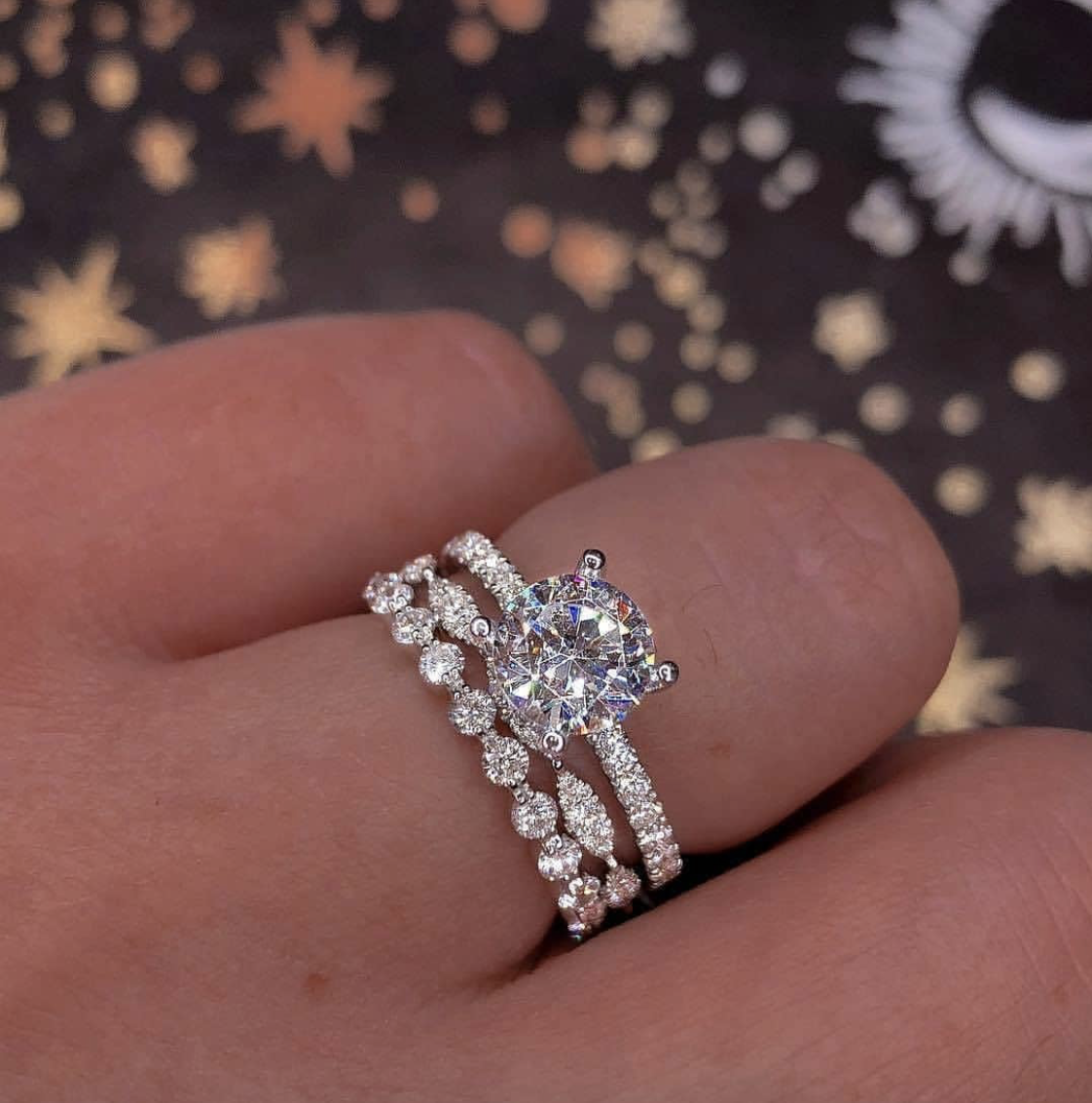Luxury 100% 925 Sterling Silver Created Moissanite Wedding Engagement Cocktail Diamond Rings for Women Fine Gemstone Jewelry