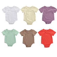 0-6M Newborn Infant Baby Girls Boys Bodysuits Solid Single Breasted Short Sleeve