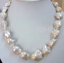free shipping >>Jewellery Wonderful big 18-21mm white pearl necklace(China)