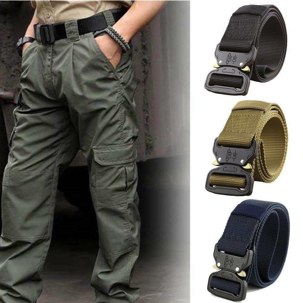 Hirigin Men Adjustable Nylon Belt Army Tactical Belt Molle Military Combat Belts Knock Off Emergency Survival Waist Belts