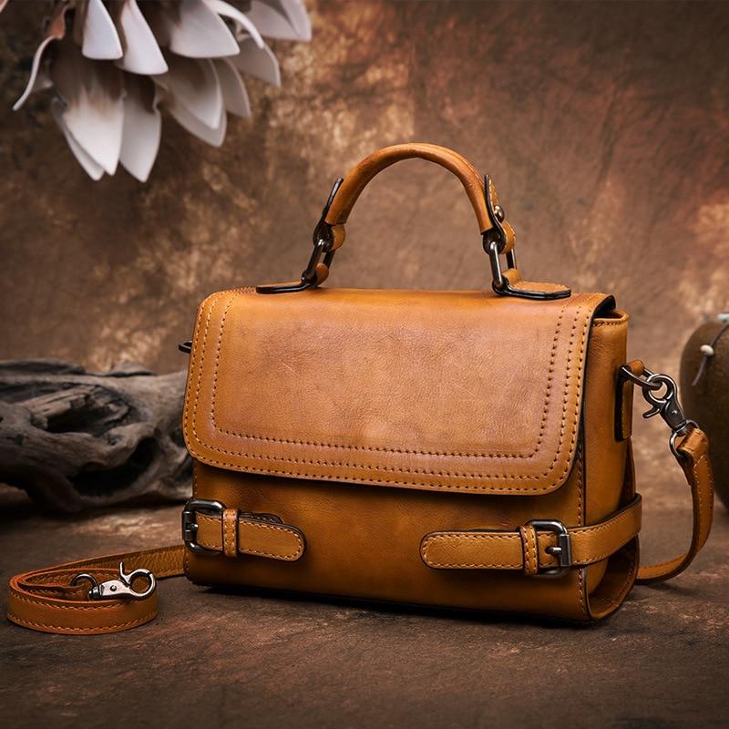 Кожаная сумка женская сумка новый стиль 2019 растительное Дубление кожаная сумка ретро чехол оригинальная женская сумка ручной работы