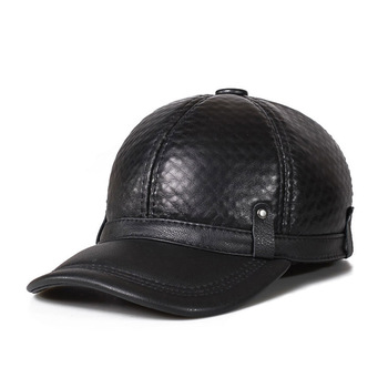 Autumn Winter Woman'S Men's Genuine Leather Hat Cadet Cap Biker Motorcycle Star Studded Hats High Quality Warm Caps Unisex