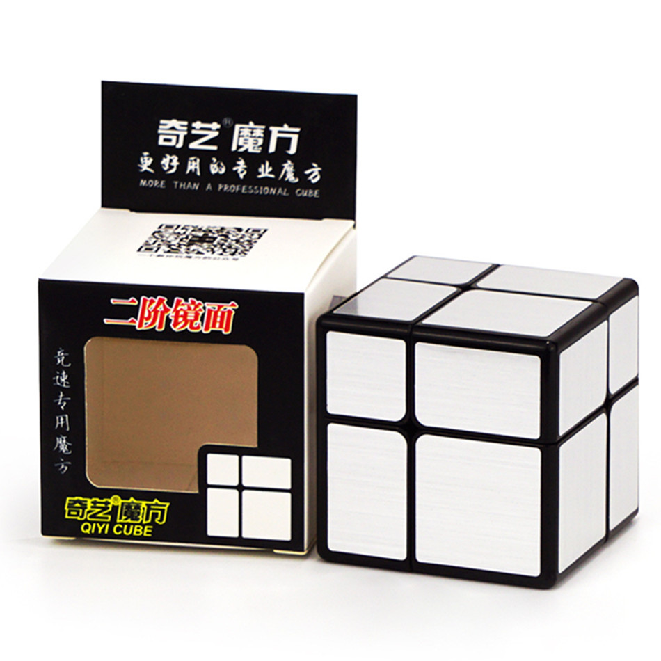 QiYi Mirror 2x2 Magic Cube 54.5mm Puzzle Speed Magic Cube Golden/Silver Sticker Cube Toys For Children Classic Toys Gift