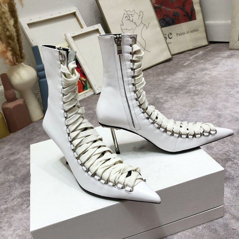 Fashion Cross-tied High-Heeled Sandals Sexy Hollow Out Pointed Toe Women Sandals Thin Heels Metal Decoration Women Shoes Botas