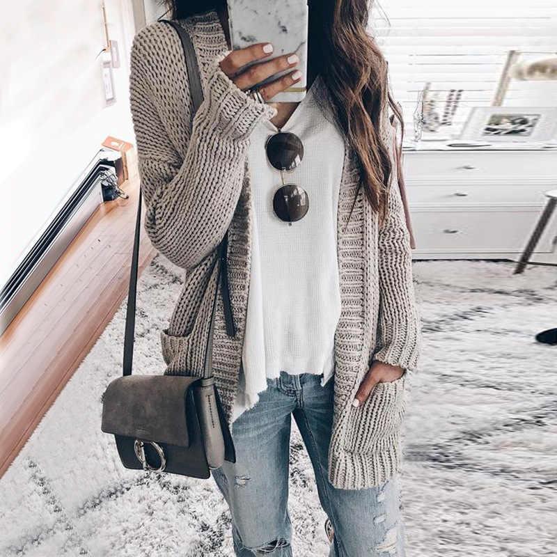 가을 겨울 batwing 긴 소매 니트 카디 건 여성 니트 스웨터 포켓 카디 건 패션 여성 점퍼 코트