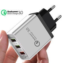 ROCK Quick Charge QC 3.0 Fast Charging 3 USB Phone Charger Wall Adapter For iPhone 11 8 7 XR Xiaomi Samsung Huawei Mobile Phone(China)