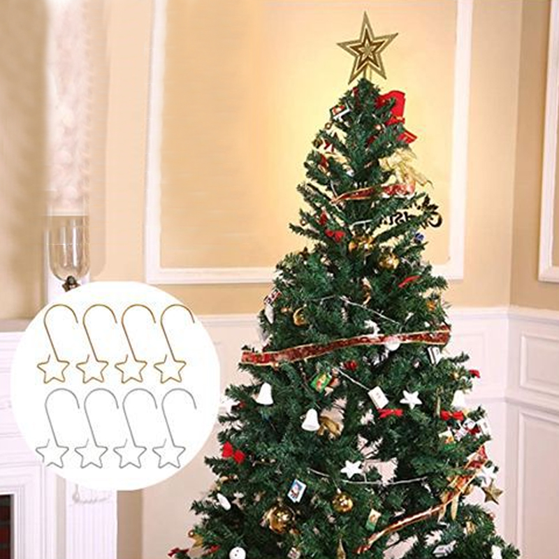 20pcs/lot Christmas Wreath Hooks For Christmas Tree Hanging Pendant Ornament Metal Star Decorations Hook Xmas Home Decor