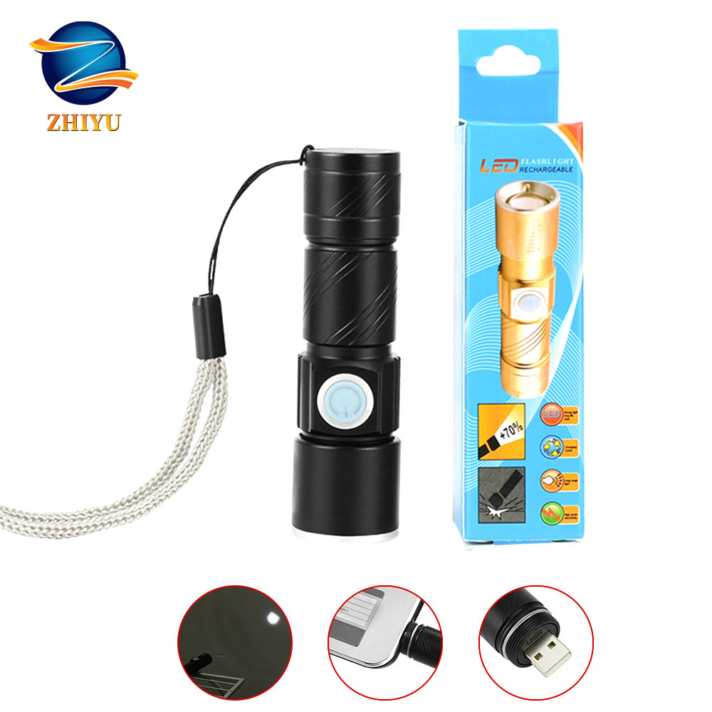 ZHIYU Mini LED Flashlight Tactical Electric Torch Cree T6 Outdoor Camping Light USB Rechargeable Waterproof Zoom-able Lamp